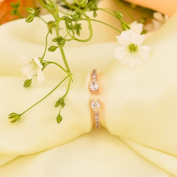 Rose Gold Pear Gap Diamond Ring