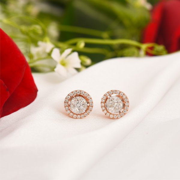 Rose Gold Round Diamond Studs