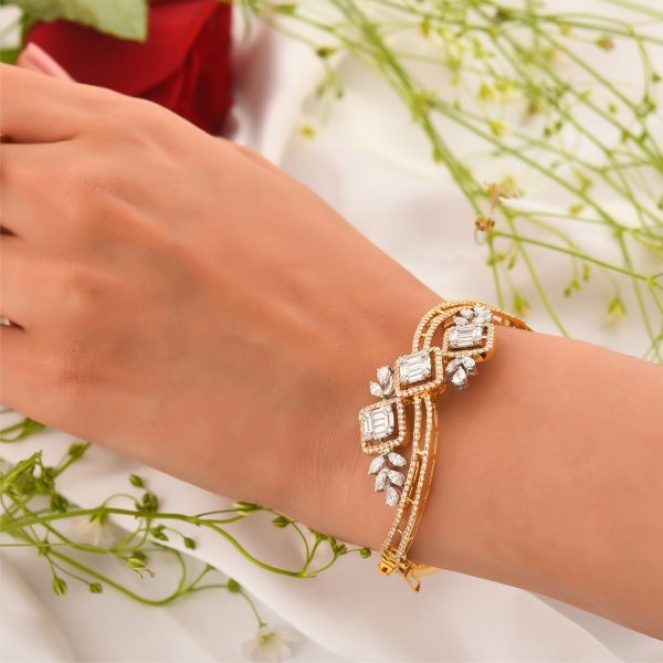 Yellow Gold Baguette Diamond Bangle