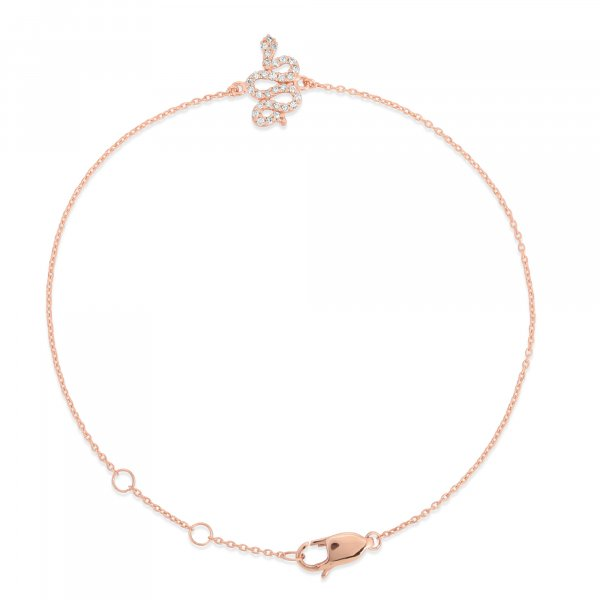 Rose Gold Diamond Snake Bracelet