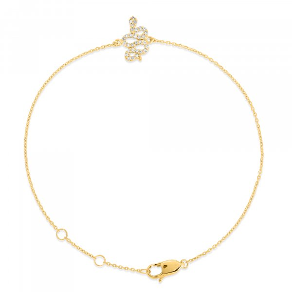 Yellow Gold Diamond Snake Bracelet