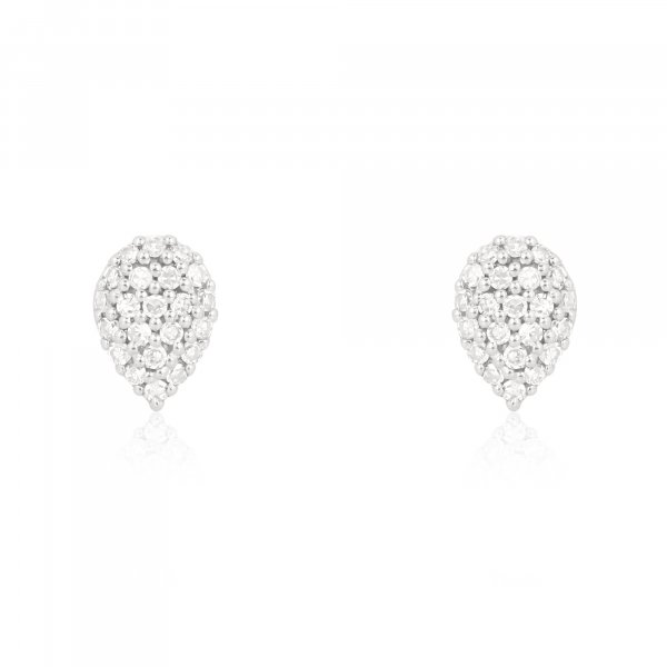 White Gold Pave Diamond Pear Stud