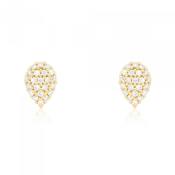 Yellow Gold Pave Diamond Pear Stud
