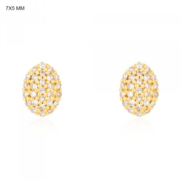 Yellow Gold Pave Diamond Oval Studs