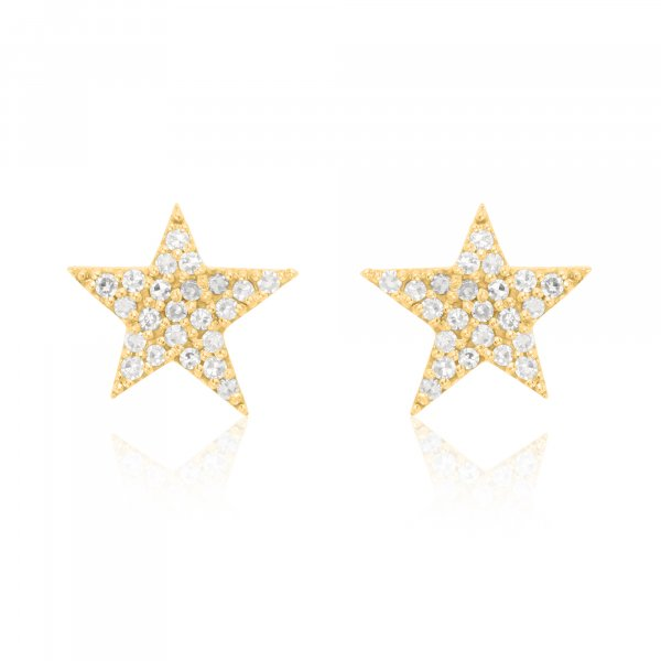 Yellow Gold Pave Diamond  Star Studs