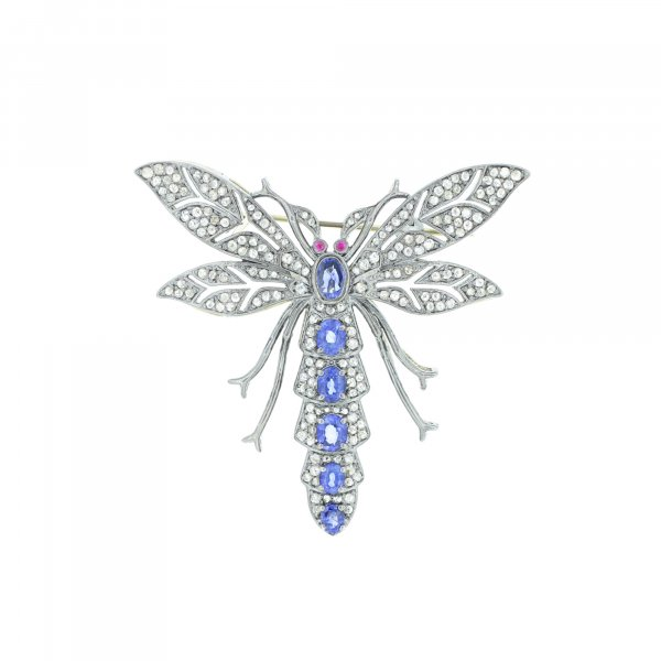 Blue Sapphire Diamond Fly Brooch with Ruby Eyes