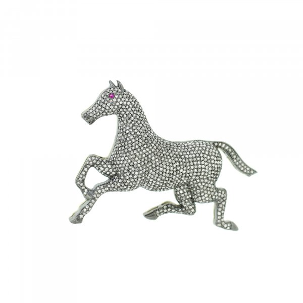 Sterling Silver Diamond Horse Brooch With Ruby Eyes