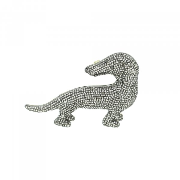 Sterling Silver Diamond Dog Brooch with Black Diamond