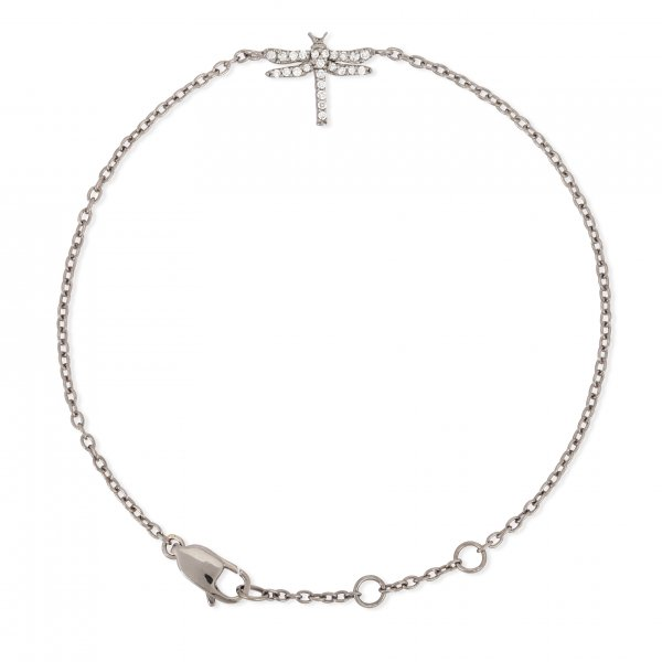 Sterling Silver Butterfly Diamond  Bracelet