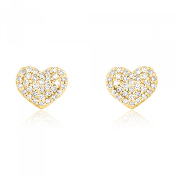 Yellow Gold Pave Diamond Heart Studs