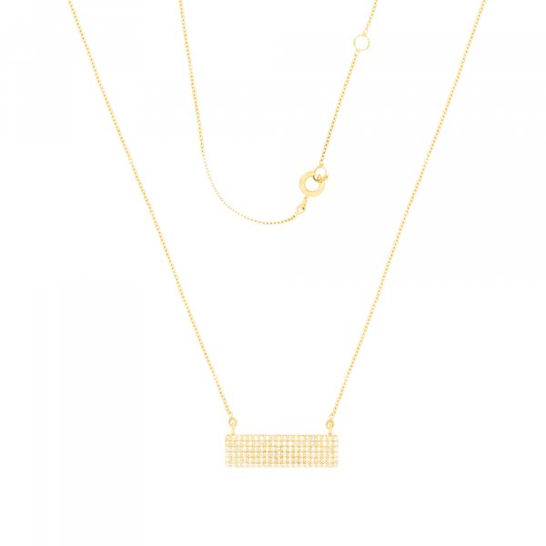 Yellow Gold Rectangle Diamond Pendant with Chain