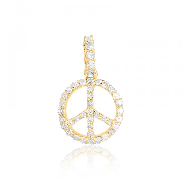 Yellow Gold Peace Diamond Pendant