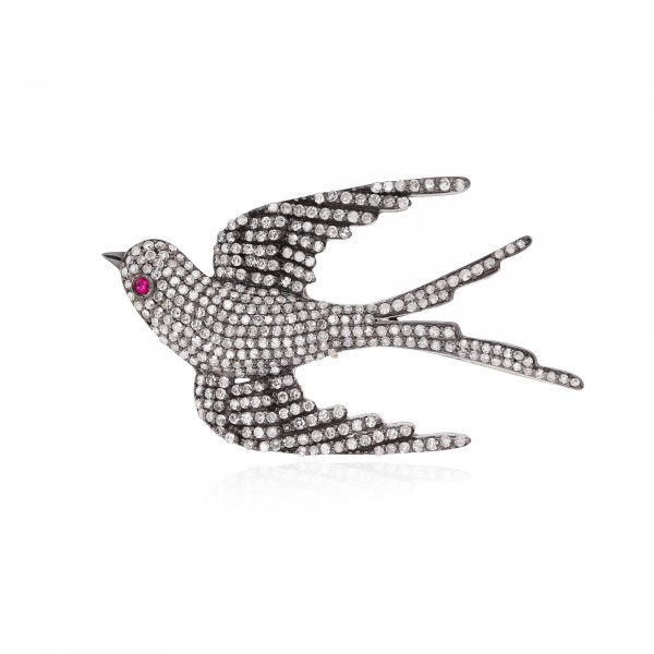 Sterling Silver Diamond Bird Brooch With Ruby Eyes