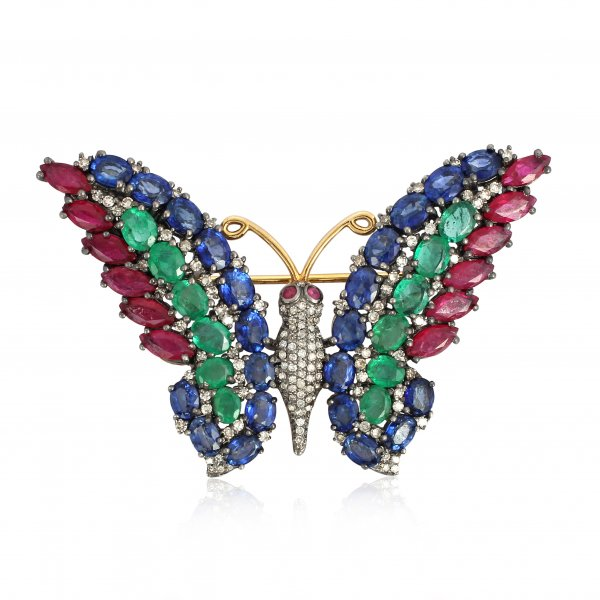 Sterling Silver Colorstone Butterfly Brooch