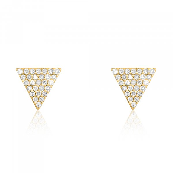 Yellow Gold Pave Diamond Triangle Studs