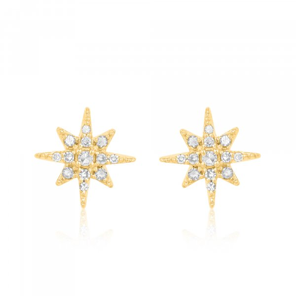 Yellow Gold Pave Diamond Bursting Star Studs