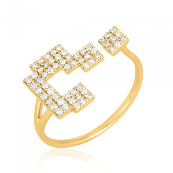 Yellow Gold Question Mark Diamond Gap Ring