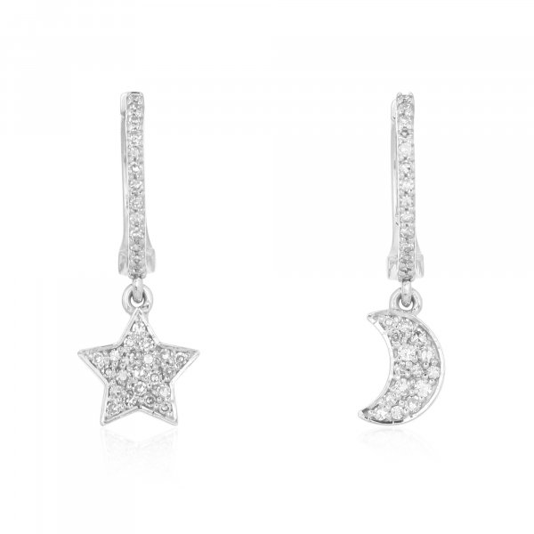 White Gold Diamond Star Moon Hanging Charm Combo Earrings