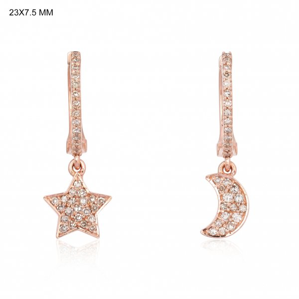 Rose Gold Diamond Star Moon Hanging Charm Combo Earrings