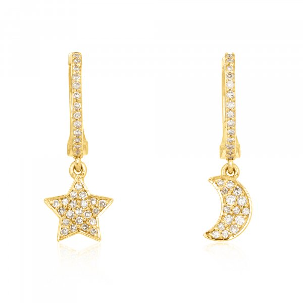 Yellow Gold Diamond Star Moon Hanging Charm Combo Earrings