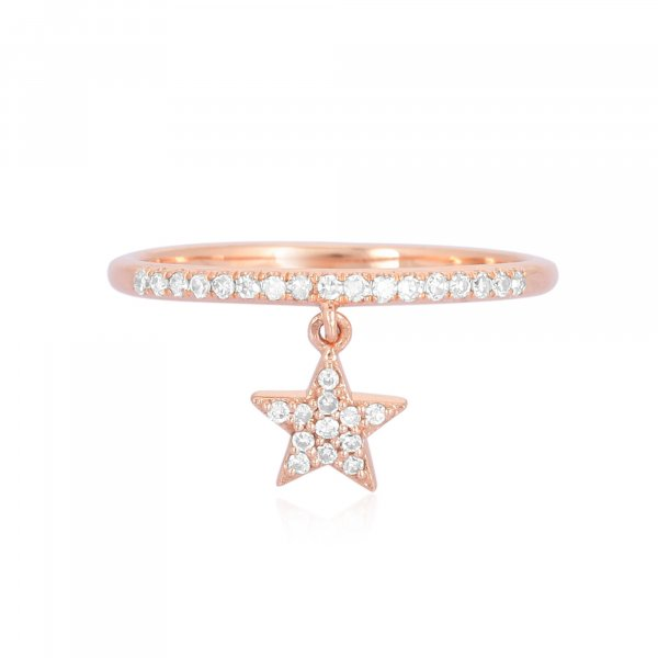 Rose Gold Drop Star Charm Diamond Ring