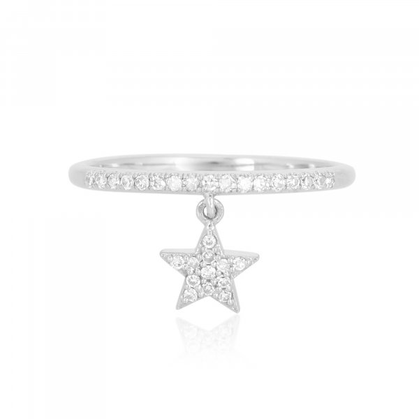 White Gold Drop Star Charm Diamond Ring