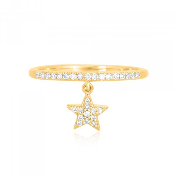 Yellow Gold Drop Star Charm Diamond Ring