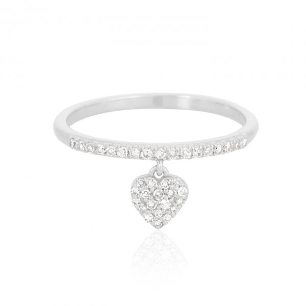 White Gold Heart Charm Diamond Ring