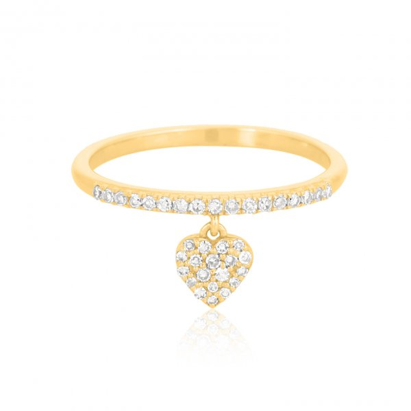 Yellow Gold Heart Charm Diamond Ring