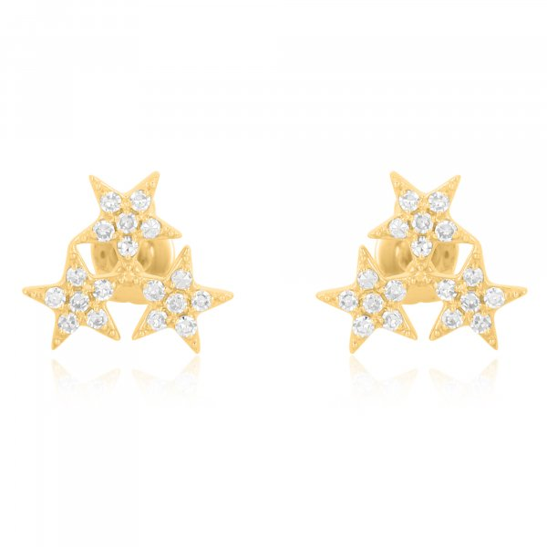 Yellow Gold Pave Diamond Triple Star Studs