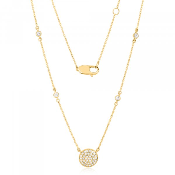 Yellow Gold Round Disc Diamond necklace