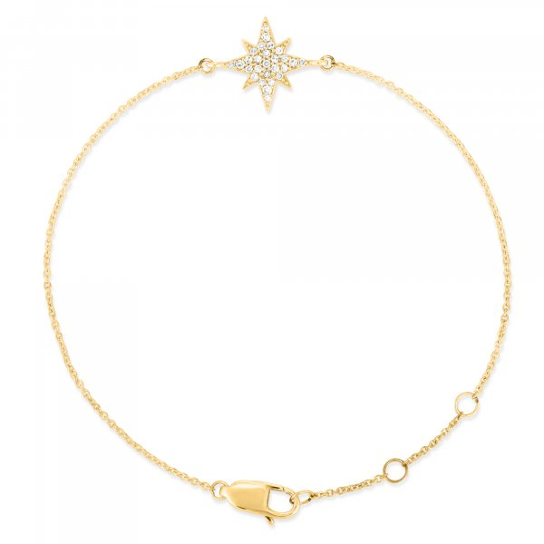 Yellow Gold Star Diamond Bracelet