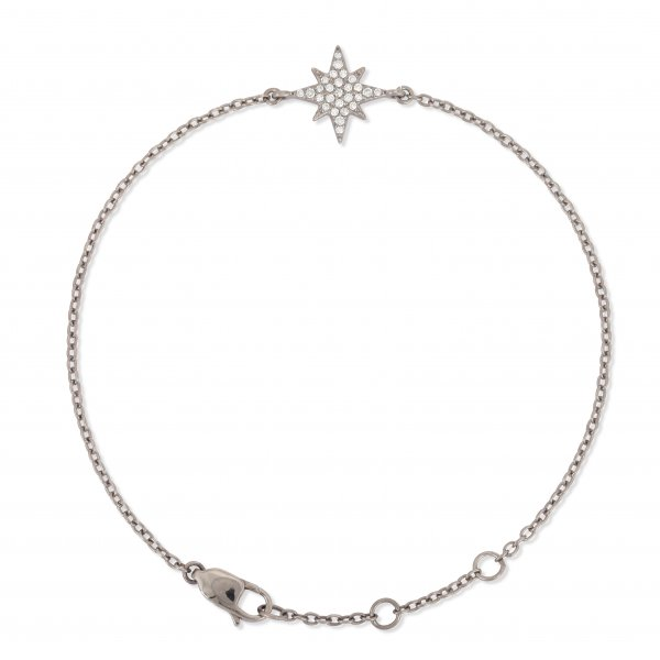 Sterling Silver Star Diamond Bracelet