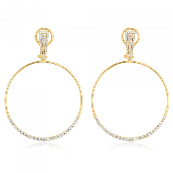 Yellow Gold Round Circle Dangle Earrings