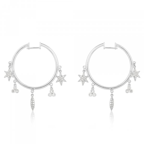 White Gold Hoops With Multiple Hanging Diamond Charms