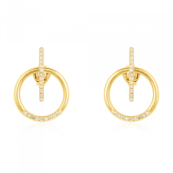 Yellow Gold Round and Bar Diamond Jacket Earring