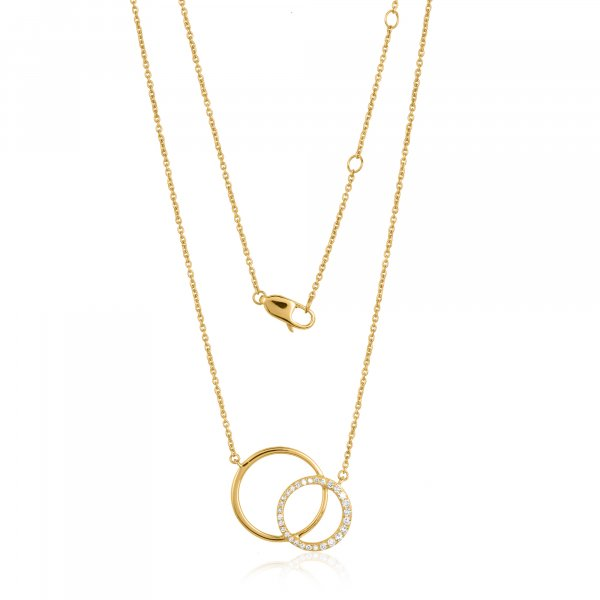 Yellow Gold Round Diamond Pendant with Chain