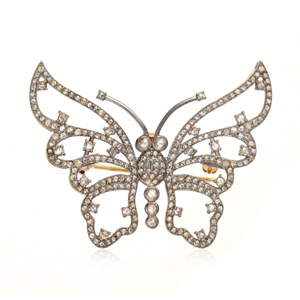 Sterling Silver Diamond Butterfly Brooch