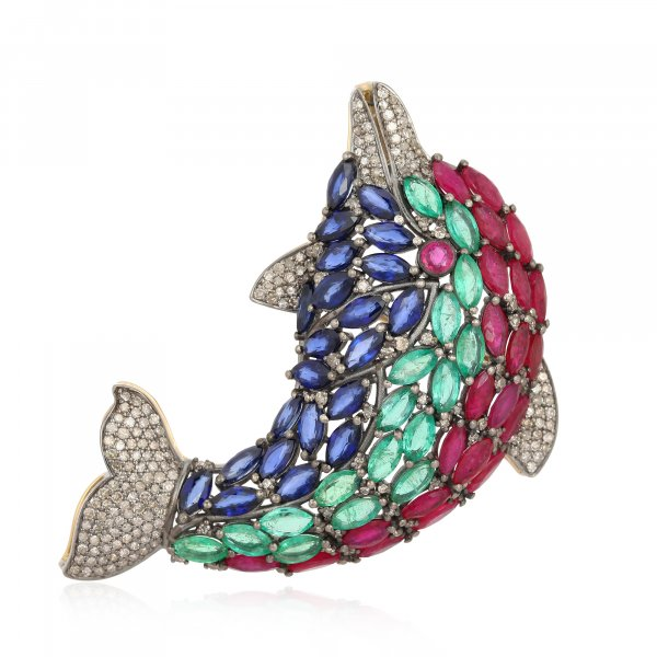 Ruby, Emerald, Blue Sapphire and Diamond Fish Brooch in Silver and 14K Gold