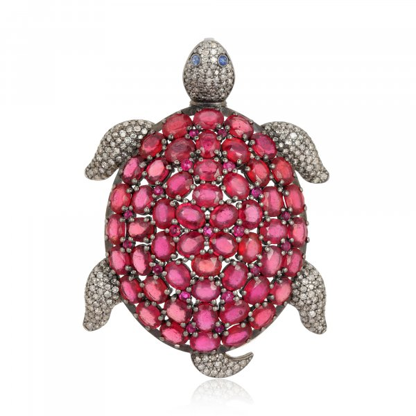 Ruby Turtle Brooch with Diamonds in Silver and 14K Gold