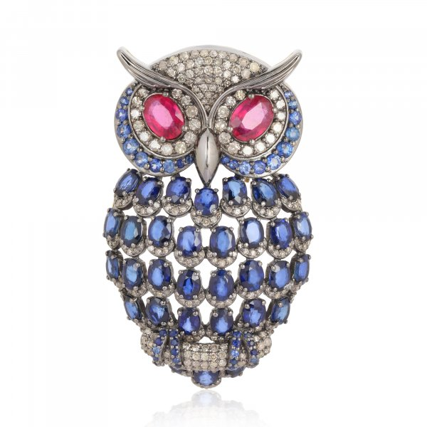 Sterling Silver Colorstone Owl Brooch