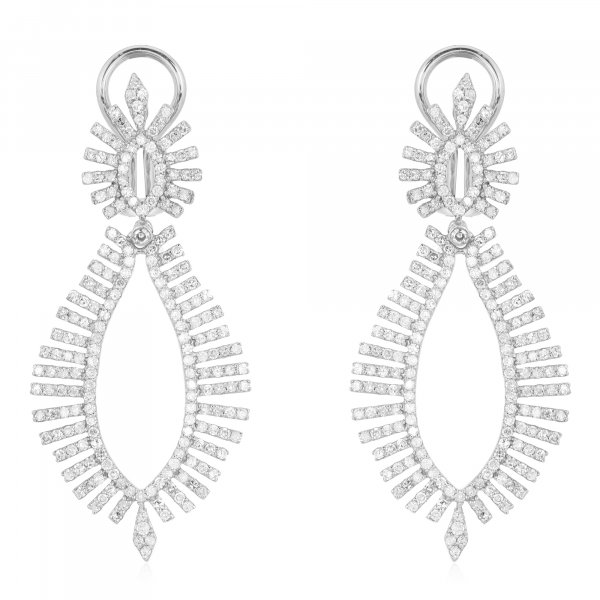 White Gold Marquise shaped Leaf Diamond  Earrings