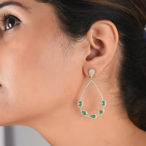 Rose Gold Emerald Diamond Dangle Earrings
