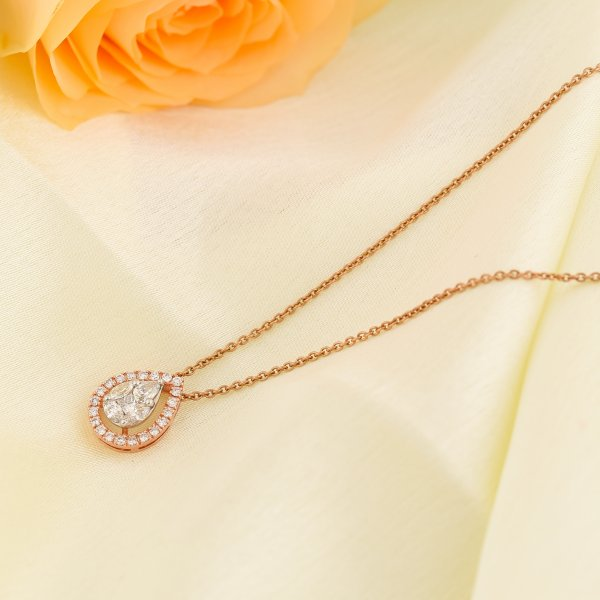 Rose Gold Drop Diamond Necklace